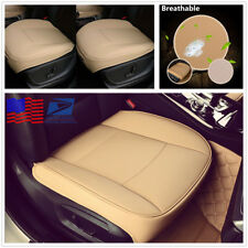 Breathable Beige Car Seat Front Cushion Pad PU Leather Anti-wear Clean Cover