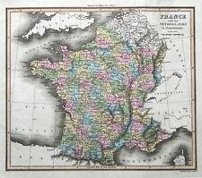 FRANCE &  BELGIUM Thomson,Walker original hand coloured antique map 1816