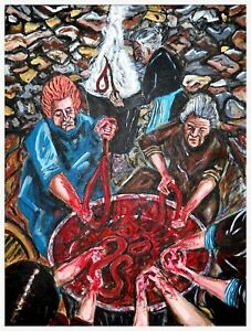 THE SAUSAGE MAKERS by John Pipere 61cm x46cm acrylic painting on canvas 2012