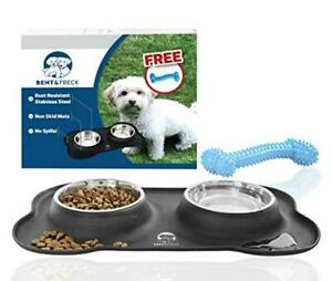 No Spill Dog Feed Bowls Stainless Steel Non Skid Mat Feed Tray Pet Animal New