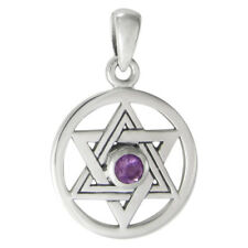 Sterling Silver Star of David with Amethyst Gemstone - Seal of Solomon Jewelry