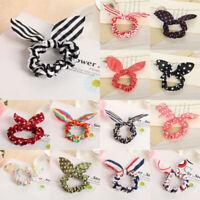 10pc Women Elastic Rabbit Bunny Ear Hair Band Rope Scrunchie Ponytail Holder Bow
