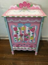 NEW Children's Pink Roses Girl's JEWELRY Box Wood  ARMOIRE Floor Cabinet Chest
