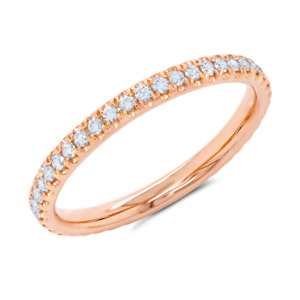 14K Rose Gold Round Diamond Eternity Ring Size 4.5 Wedding Band 2mm Stackable