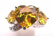 925 Silver Overlay Ring With Heart Shaped Natural Citrine Size S US 9  (rg0284)