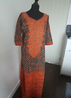 African prints Embroidery Front  studded Gown one size dress & 56inches length