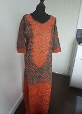 African prints Embroidery Front  studded Bubu one size dress & 56inches lenght