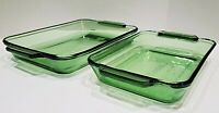 Set of 2 Anchor Hocking Green Glass Rectangular Baking Casseroles - 3 QT & 2 QT
