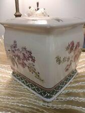Vintage Waverly Tissue Kleenex Holder Ceramic Floral Garden Lilac Roses