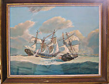 L/A G. F. Campbell Maritime Large Gouache, Wasp vs. Frolic, 1812 Naval Battle