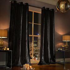 Kylie Minogue Iliana - DESIGNER Eyelet Velvet / Ring Top Velour Lined Curtains Black 66 54