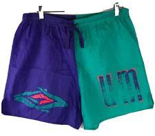 Vtg 80s 90s Umbro Purple Green Mens Large Nylon Athletic Soccer Shorts