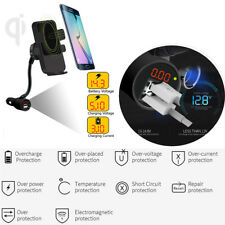 Qi Wireless Fast Charger Car Mount Holder Daul USB for iPhone 6 6S Samsung S9 S8