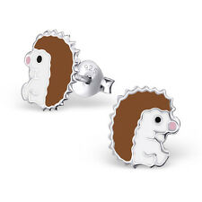 New Girls Ladies 925 Sterling Silver Cute Hedgehog Logo Stud Earrings Boxed
