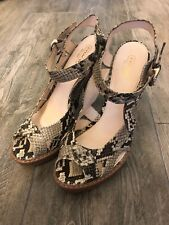 Womens Coach Tamara Platform Sandal Shoes High Heel US 9.5 B Leather Python Prnt