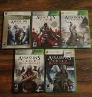 Assassin's Creed 1 II 2 III 3 Revelation Brotherhood Bundle Lot of 5 Xbox 360