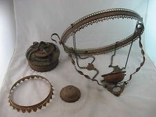 Oil Lamp Chandelier Parts LOT Antique Chain, Ring & Pulley Hanging Victorian