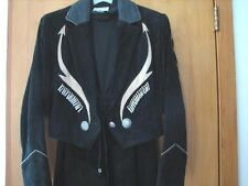 Black**Suede Leather**Jacket Med**LONG Fringe Pioneer Wear Women's Rodeo Cowgirl