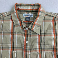 Urban Pipeline Button Up Shirt Mens XL Brown Orange Plaid Short Sleeve Casual