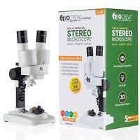 QCrew Science Discovery 20X-50X Dual-Illumination Stereo Microscope & Tool Kit