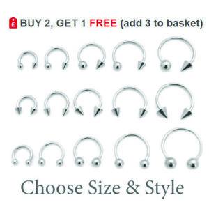 Horseshoe Bar Circular Barbell Steel Nose Septum Nipple Lip Ring Ear Hoop Helix