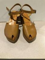 Authentic~ Robert Clergerie Wedge~ Strappy~Peeptoe Sandals Leather~Tan  9