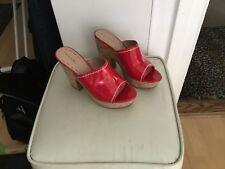 Tahari Miami patent leather red cork platform sandals...EUC!!