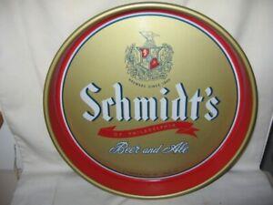 """Vintage Round Schmidt's Of Philadelphia Metal Beer Tray 13"""" Diameter VGC Gold"""