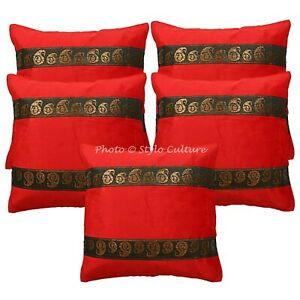 Ethnic Sofa Cushion Covers Red 16 x 16 Jacquard Satin Velvet Floral Pillow Cases