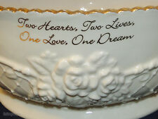 Wedding Anniversary Bowl NOW & FOREVER Jade Porcelain Embossed Collectibles Gift