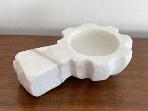 Vintage Modern Abstract Carved WHITE Marble Sculpture GEOMETRIC