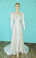 Vintage Early 30's Long Sleeve Chapel Length Ivory Wedding Dress Gown XS