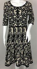Sandra Darren Black Taupe Scroll A-Line Sweater Dress 3/4 Sleeve Size Medium