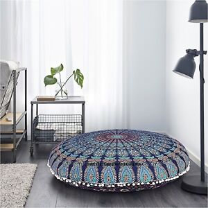 "Feather Peacock Mandala Cotton 32"" Large Round Floor Cushion Cover Indian HIppie"
