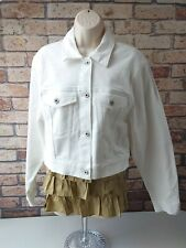 New. Woman Arizona white Denim Jacket Size Large style vintage