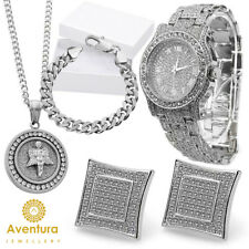 Men's Hip Hop  Simulated Crystal Watch Necklace + Bracelet and Earring