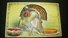 """Antique """" Thanksgiving"""" Post Card - Embossed. Stamped. 1908"""