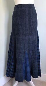 AMANO Blue Wool Long Flared Skirt S UK 10 Contrast Godet Panels Lined Fair Trade