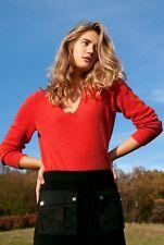 Only Mine SWEATER V Neck 100% Cashmere Sweater Size L Orange