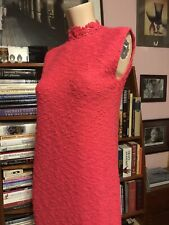 New listing Vintage 1960s St. John Knits Coral Nubby Fitted Sleeveless Summer Garden Dress