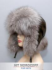 SILVER FOX Fur Hat Black Aviator Bomber Chapka Pelzmütze Fliegermütze Fuchs Ski