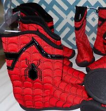 NEW NWT DISNEY STORE SPIDERMAN SPIDER-MAN BOOTS BOOTIES SLIPPERS YOUTH BOYS 9/10
