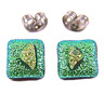 """DICHROIC Post EARRINGS 1/4"""" 8mm Lime Green Yellow Crinkle Layers Tiny GLASS STUD"""