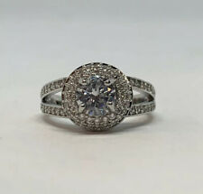 Silver Plated Copper Round Cut White Sapphire Solitaire Accents Ring Size 7