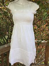 New_Boho Peasant Tiered Smocked White Cotton Embroidered Dress_Sizes S/M, L/XL