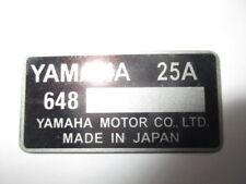 Plaque Signalétique plate plaque YAMAHA 25 A MOTO BIKE QUAD JET SKI TOHATSU s39