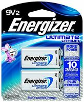 3 Pack Energizer Ultimate Lithium 9V Battery 2 Count Each
