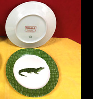 """Deshoulieres Porcelain, """"Alligator Alley"""", Limoges, France, Dessert Set for 12."""