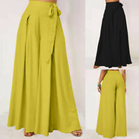 ZANZEA Women High Waist Flare Wide Leg Baggy Pants Culotte Long Palazzo Trousers