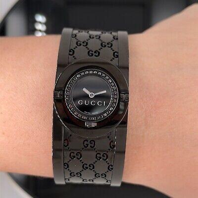 Gucci Black Bangle Ladies Diamond Watch YA112529 New $1895